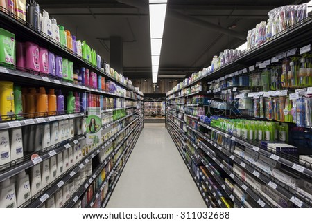 BANGKOK, THAILAND - August 29, 2015: Aisle view of the Villa Market. The Villa market is the largest imported food distributor and supermarket chain with over 35 stores in Thailand.