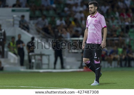 BANGKOK,THAILAND:AUGUST;2016:Andres Tunez of Buriram during in football Thai League between Bangkok Glass FC and Buriram United  at LEO Stadium on MAY 21,2016 inThailand.