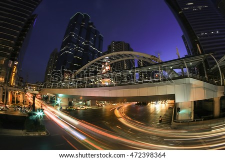 "BANGKOK THAILAND - August 21, 2016: Chong Nonsi skywalk at skytrain station ""BTS"" on August 21, 2016 in skytrain station on the Silom Line bangkok thailand."