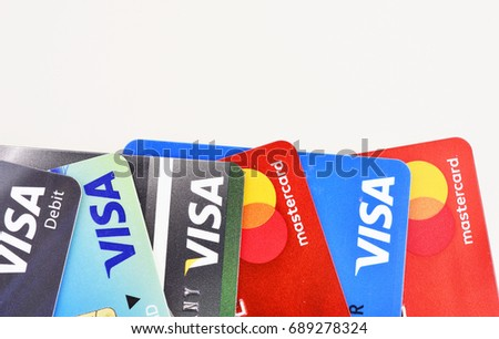 Bangkok, Thailand - August 3, 2017: Close up of many VISA and MASTER credit card with new logo.plastic bank payment cards