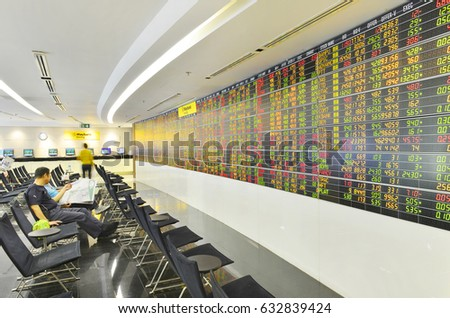 Bangkok, Thailand - August 13: Economic conditions of the Stock Exchange of Thailand on August 13, 2016