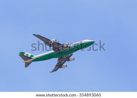 BANGKOK, THAILAND - AUGUST 25: EVA Air 747 cargo jet take off from Airport on August 25, 2015 in Bangkok, Thailand - stock photo