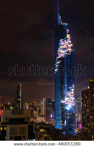 Bangkok,Thailand - August 29,2016 : Grand opening Mahanakorn Tower with light and sound show at sathorn.