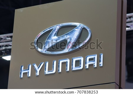 Bangkok, Thailand. - August 27, 2017 : Hyundai car logo at motor show.
