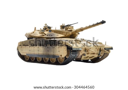 BANGKOK, THAILAND - AUGUST 1,2015 : ISOLATED IN WHITE BACKGROUND AND SELECTIVE FOCUS TO PLASTIC SCALE MODEL (1/35 SCALE) OF MERKAVA ISRAELI MAIN BATTLE TANK  - stock photo