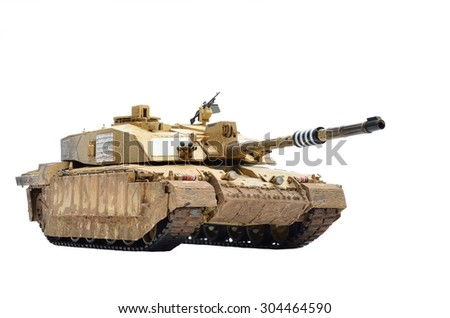 BANGKOK, THAILAND - AUGUST 1,2015 : ISOLATED IN WHITE BACKGROUND AND SELECTIVE FOCUS TO PLASTIC SCALE MODEL (1/35 SCALE) OF CHALLENGER 2 BRITISH MAIN BATTLE TANK  - stock photo