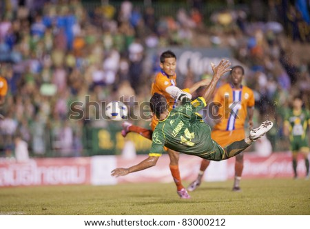 BANGKOK THAILAND- AUGUST 17 :L.Santos (G) in action during Thaicom FA Cup between Army Utd. (G) vs Buriram fc (O) on August 17, 2011 at Army Stadium in Bangkok Thailand