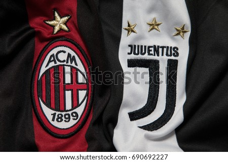 BANGKOK, THAILAND - AUGUST 5: Logo of AC Milan and Juventus  Football Club on the Jersey on August 5,2017 in Bangkok Thailand.