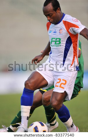 BANGKOK THAILAND- AUGUST 21 :M.Da Silva of Thai port in action during Sponsor Thai Premier League 2011 between Army Utd. and Thai Port FC on August 21, 2011 at Army Stadium in Bangkok Thailand