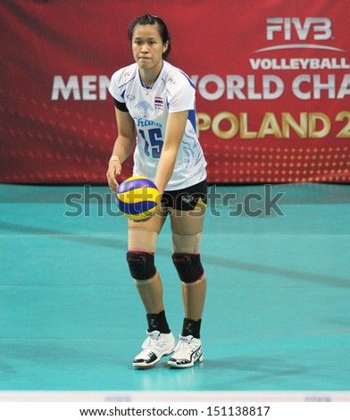 Bangkok, Thailand - August 16:Malika Kanthong of Thailland participates in a FIVB Volleyball World Grand Prix 2013 at Indoor stadium on August 16, 2013 in Bangkok, Thailand.
