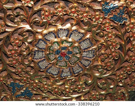 BANGKOK ,THAILAND - August 19 : masterpiece of traditional Thai Crystal and Glass Art on the wall at Buddhist Common Place on August 19, 2015 in Bangkok, Thailand - stock photo