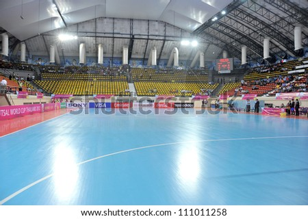 BANGKOK THAILAND - AUGUST 24 : Nimibut Stadium of Thailand in Friendly futsal match Between Thailand VS Spain at Nimibutr Stadium on August 24,2012 in Bangkok,Thailand. - stock photo