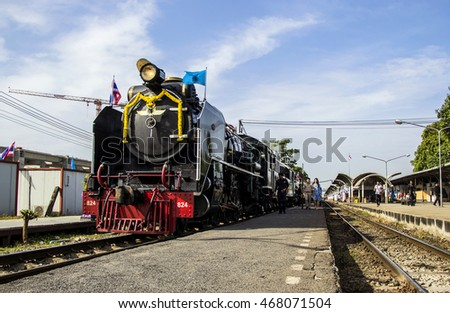 BANGKOK, THAILAND - AUGUST 12 : Old steam locomotive Pacific No. 850 and 824. ran to celebrate Mother's Day at Bang Sue train station on August 12, 2016 in Bangkok,Thailand.