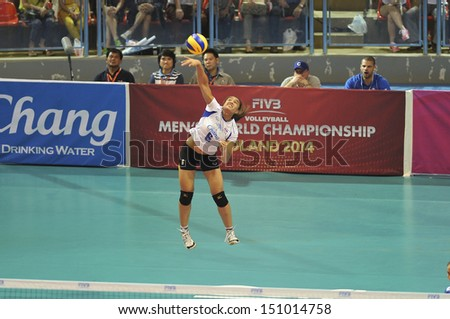 BANGKOK,THAILAND-AUGUST16,2013 : Onuma.S(6) of Thailand in action during FIVB Volleyball World Grand Prix 2013 between Thailand and Puerto Rico at Indoor stadium on August16,2013 in Bangkok,Thailand.