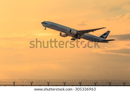 BANGKOK THAILAND - August 09, 2015 -  Orient Thai Airlines cargo plane Take Off at suvarnabhumi international air port on August 09, 2015 in Bangkok, Thailand.