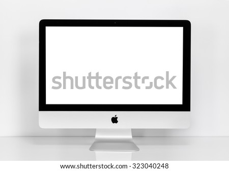 BANGKOK, THAILAND - August 14, 2015: Photo of new iMac 21.5 With OS X Yosemite. iMac - monoblock series of personal computers, created by Apple Inc. - stock photo