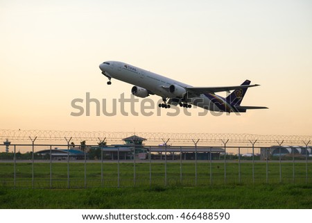 BANGKOK THAILAND - AUGUST 07 : Plane take off at Suvarnabhumi international airport in evening on August 07, 2016 in Bangkok, Thailand.