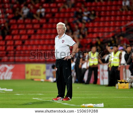 BANGKOK,THAILAND-AUGUST14,2013:Rene Desaeyere head coach of Muangthong Utd in action during Thai Premier League 2013 between MuangthongUtd and Ratchaburi Fc at SCG stadium on August14,2013 in BKK,THA