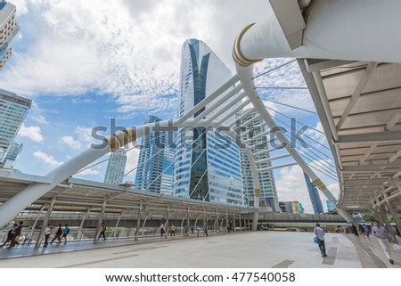 Bangkok, Thailand - August 31, 2016 : Sathorn junction area during rush hour. business area at the center of Bangkok, Thailand