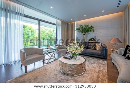 BANGKOK, THAILAND - August 13 : Small living room interior at the perfect  home for