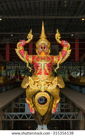 BANGKOK, THAILAND - 28 august 2015: Thai Royal Barge in Bangkok, Thailand on 28 august 2015. The Thai royal barges are used in the royal family during tradition reliogius procession to royal temple - stock photo