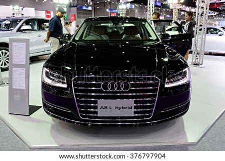 BANGKOK, THAILAND - AUGUST 6: The Audi A8 L Hybrid is on display at the Bangkok International Grand Motor Sale 2015 at Bitec on August 6, 2015 in Bangkok, Thailand.
