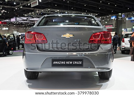 BANGKOK, THAILAND - AUGUST 6: The Chevrolet Amazing New Cruze is on display at the Bangkok International Grand Motor Sale 2015 at Bitec on August 6, 2015 in Bangkok, Thailand.