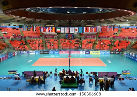 BANGKOK,THAILAND-AUGUST 16,2013:The competition FIVB Volleyball World Grand Prix 2013 at Indoo stadium Hua-Mak on August 16,2013 in Bangkok,Thailand