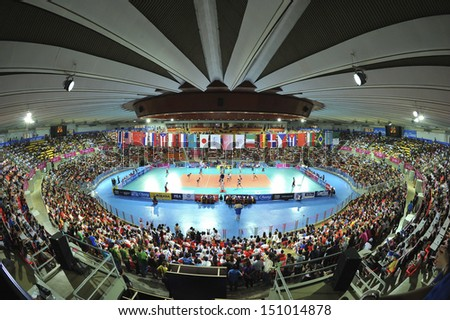 BANGKOK,THAILAND-AUGUST 16,2013:The competition FIVB Volleyball World Grand Prix 2013 at Indoor stadium Hua-Mak on August 16,2013 in Bangkok,Thailand.