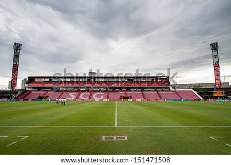 BANGKOK,THAILAND-AUGUST 25: The landscape of SCG Mungtong Stadium during The TPL 2013 between SCG Mungthong United FC and Bangkok United FC at SCG Mungthong Stadium on Aug 25, 2013 in,Thailand.