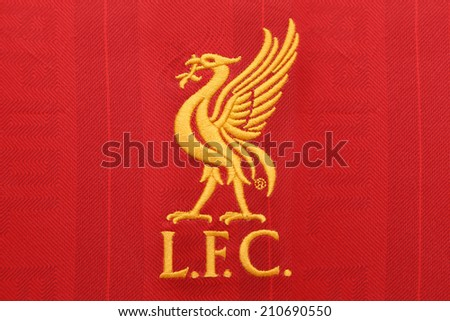 BANGKOK, THAILAND - AUGUST 05, 2014: the logo of liverpool football club on an official jerseyon 5 August 2014 in Bangkok Thailand. - stock photo