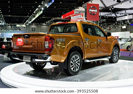 BANGKOK, THAILAND - AUGUST 6: The Nissan NP300 Navara is on display at the Bangkok International Grand Motor Sale 2015 at Bitec on August 6, 2015 in Bangkok, Thailand.