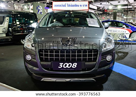 BANGKOK, THAILAND - AUGUST 6: The Peugeot 3008 is on display at the Bangkok International Grand Motor Sale 2015 at Bitec on August 6, 2015 in Bangkok, Thailand.