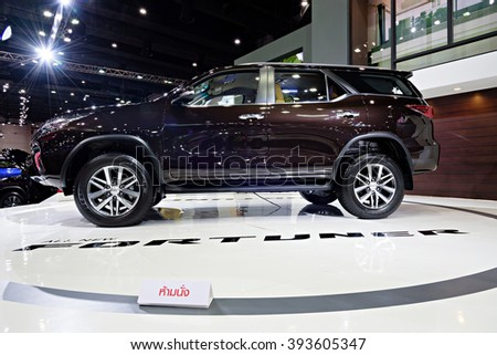 BANGKOK, THAILAND - AUGUST 6: The Toyota Fortuner is on display at the Bangkok International Grand Motor Sale 2015 at Bitec on August 6, 2015 in Bangkok, Thailand.