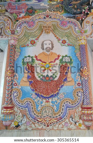 BANGKOK - THAILAND - August 12 : Traditional Thai style painting in a temple of Wat Pariwat on August 12, 2015 in Bangkok, Thailand.
