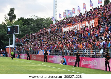 BANGKOK THAILAND- AUGUST 9 :Unidentified fans of Thai Port Fc in action during Thai Premier League between Thai Port Fc and BEC-Tero Sasana FC at PAT Stadium on August 9,2015 in Bangkok Thailand