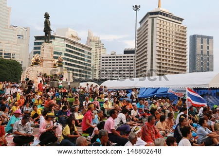 BANGKOK,THAILAND-AUGUST 5 : Unidentified people from anti-government group called V for Thailand  gather at Lumphini Park on August 5, 2013 in Bangkok, Thailand. - stock photo
