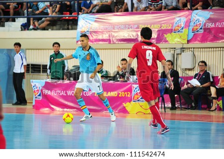 BANGKOK THAILAND - AUGUST 24 : Unidentified player in Friendly futsal match Between Thailand VS Spain at Nimibutr Stadium on August 24,2012 in Bangkok,Thailand. - stock photo