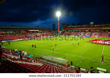 BANGKOK THAILAND-AUGUST 16: Unidentified view of SCG stadium before match  the Thai Premier League between Muangthong UTD. and Samutsongkhram FC at SCG Stadium on Aug 16,2014 in Thailand. - stock photo