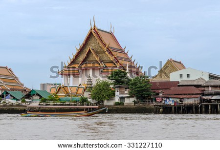 BANGKOK, THAILAND - AUGUST 11: Wat Kalayanamitr Varamahavihara is a Buddhist temple in on the the Chao Phraya River on August 11, 2015 in Bangkok,Thailand - stock photo