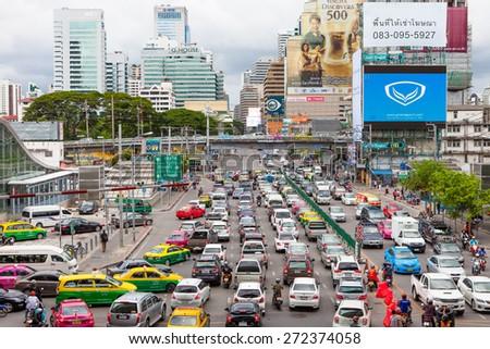 BANGKOK , THAILAND - CIRCA AUGUST 2014: Traffic jam at the junction circa august 2014, Bangkok. - stock photo