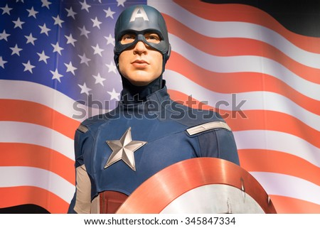 BANGKOK, THAILAND - CIRCA August, 2015: Wax figure of the famous Captain America from Madame Tussauds, Siam Discovery, Bangkok