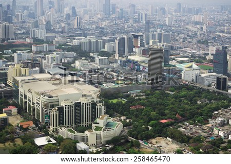 BANGKOK, THAILAND - CIRCA FEB 2015: City view of Bangkok from the Baiyoke Tower II.  Baiyoke Tower is  the tallest building in Thailand (328.4 m) Thailand