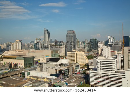 BANGKOK, THAILAND - CIRCA NOVEMBER 2015: Aerial view of Bangkok Centeral Plaza. Central Plaza is financial and commericial center of the city and intersection of important transportation routes