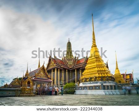 BANGKOK, THAILAND - CIRCA SEPTEMBER 2014 : It is cloudy day over Prakaew Temple in circa September 2014 in Bangkok, Thailand. - stock photo