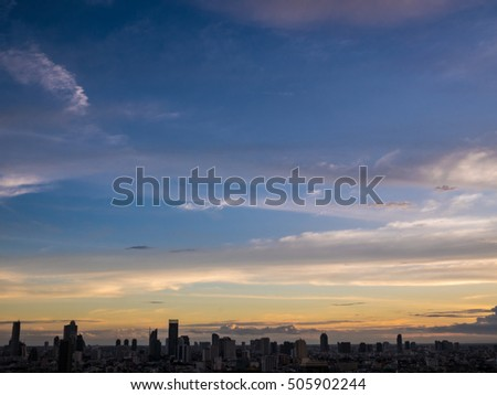 BANGKOK THAILAND : colorful sunset sky and aerial view silhouette building cityscape