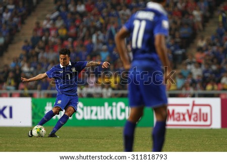 BANGKOK THAILAND DEC17::Charyl Chappuis of Thailand in action during the AFF Suzuki Cup 2014 Match between Thailand and Malaysia at Rajamangala Stadium on December 17,2014 in Thailand.
