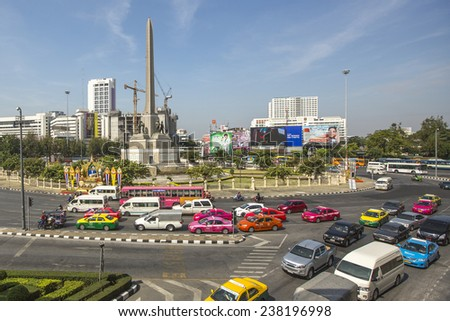 BANGKOK, THAILAND - DEC 17, 2014: Rush hour in city centre. Although Bangkok canals historically served as a major mode of transport, they have long since been surpassed in importance by land traffic. - stock photo
