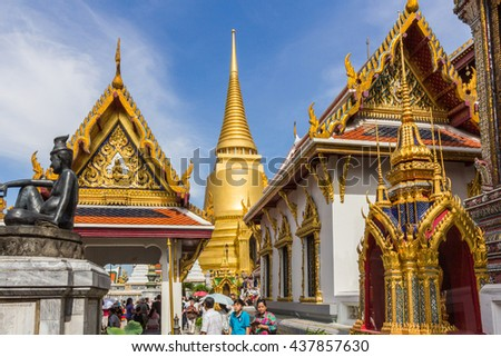 BANGKOK, THAILAND - DEC 21, 2015: The Grand Palace in Bangkok, Thailand. Built in 1782, this ornate royal palace complex now houses a museum & is open to visitors.