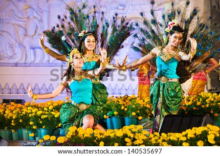 BANGKOK,THAILAND- DEC 5:Unidentified actors perform at the Classical Thai Dance Drama with Orchestra play on Celebrating of the King Rama 9 birthday,On Dec 5,2009 at Bangkok.Thailand.